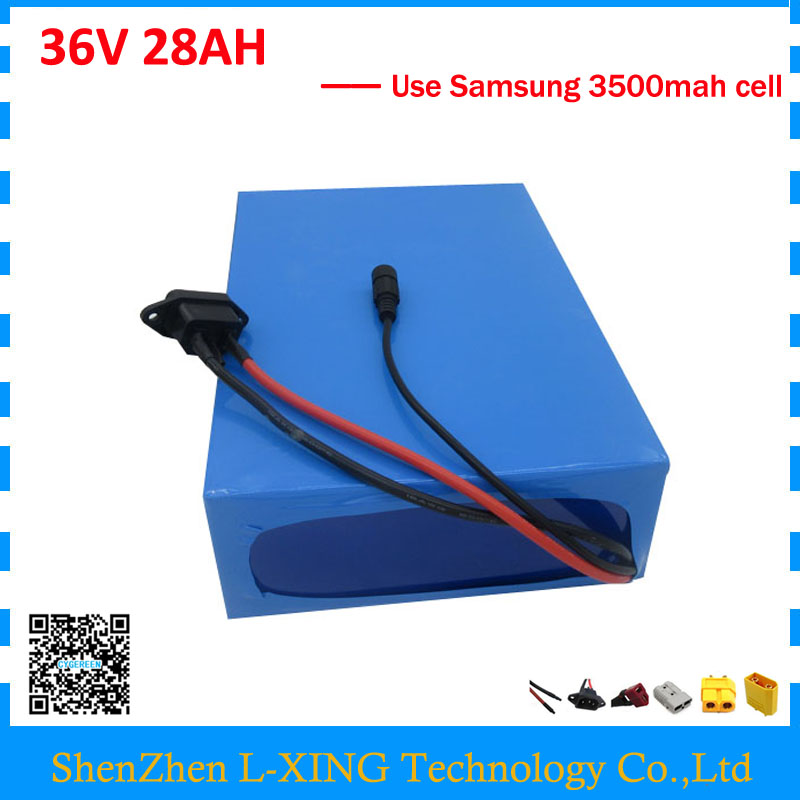 Free customs duty 36V 28AH battery pack 1500W 36 V lithium battery 28AH use samsung 3500mah cell 50A BMS with 2A Charger us eu free customs duty high power 1000w ebike battery 48v 25ah 18650 cell with 5a charger 30a bms 48v lithium battery pack