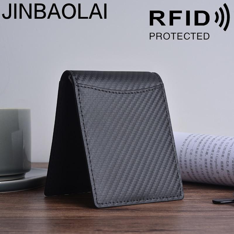 JINBAOLAI Carbon Fiber Hot Sale Anti-magnetic Men's Wallet Leather RFID Men's Gold Clip Wallet