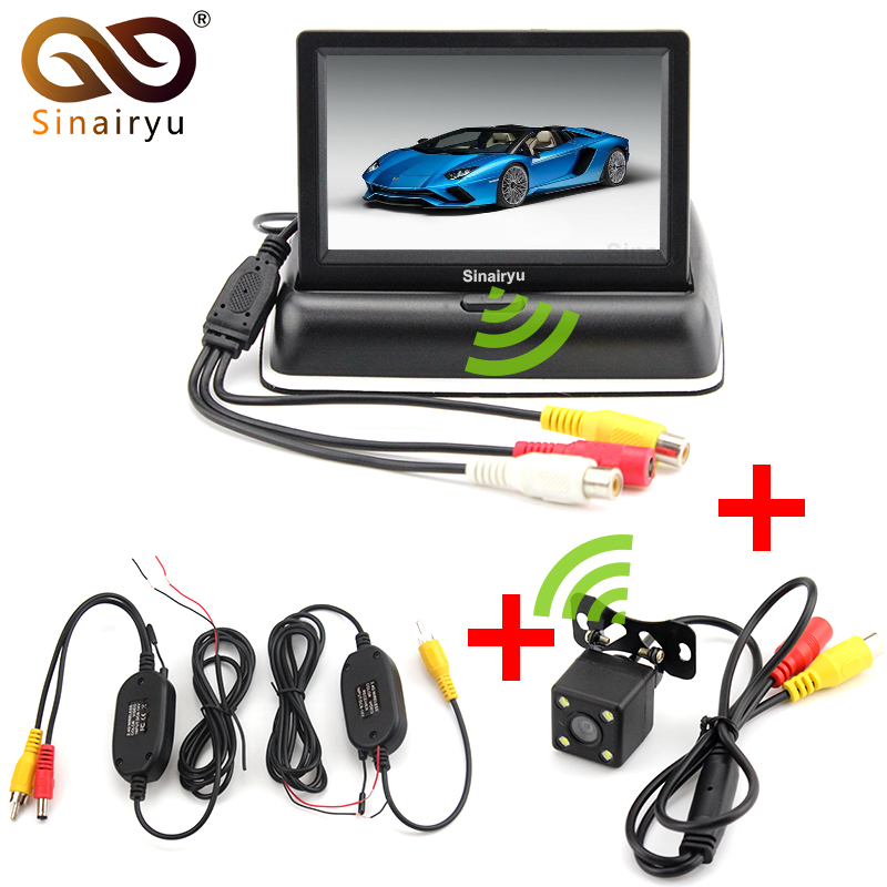 Système vidéo de moniteur de caméra de stationnement sans fil Sinairyu 3 en 1, moniteur de voiture pliable pliable avec caméra de recul + Kit sans fil