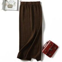 Women split sweater skirts long knitted skirt high waist midi skirt warm knitting skirts bottoms casual black gray khaki apricot