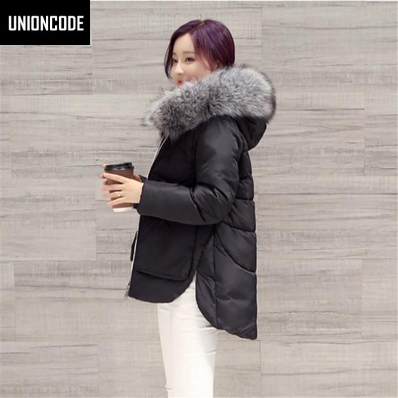 Jacket Coat Women Cotton Down Parkas With Luxury Large Fur Collar Hood Thick Coat Outwear Black White 2017 New Winter Coat