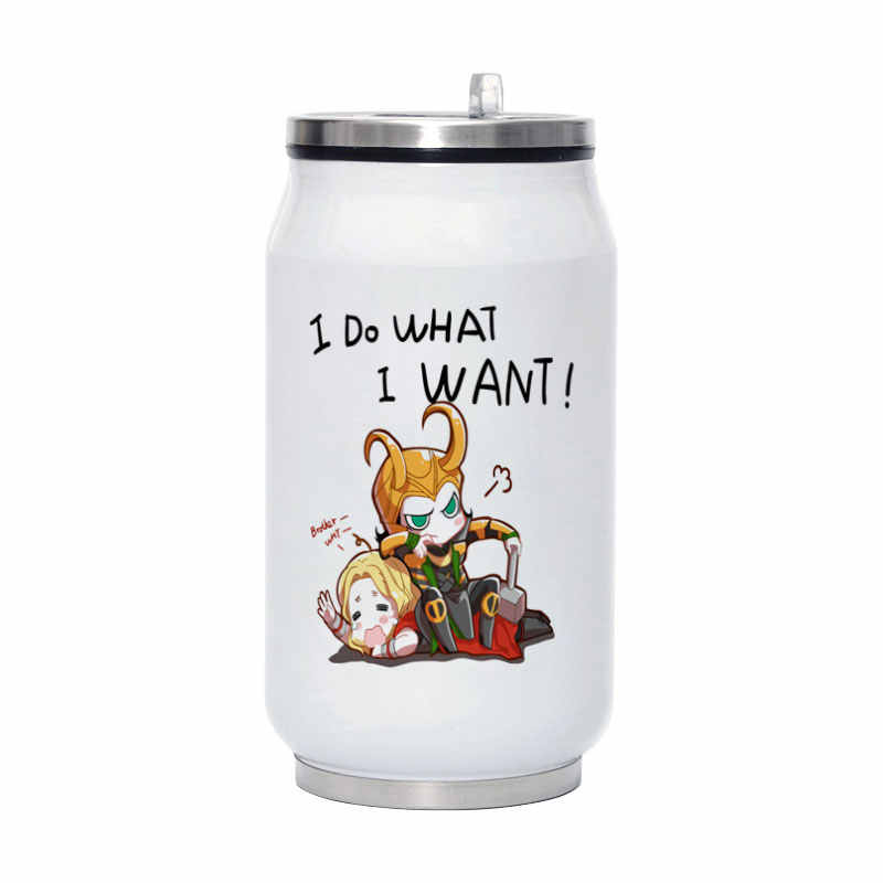 I do what i want thor loki Travel Water Bottle 280ML Stainless Steel Coffee Vacuum Flask Portable Mug Y008