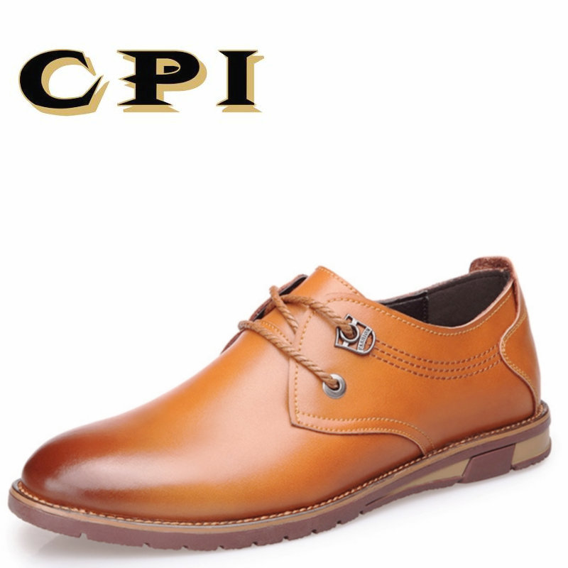 CPI 2018 New Men's casual leather shoes Comfortable Spring Autumn Fashion Breathable Men Leather Shoes Male Shoes PP-177 blai hilton 2017 new fashion spring autumn men shoes genuine leather shoes slip on breathable comfortable men s casual shoes