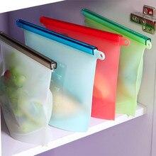 Многоразовый силикон герметичная пищевая свежая сумка холодильник фрукты и овощи мясо сок охлажденное хранение мешок кухонные принадлежности