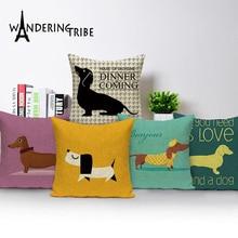 Dachshund Dog Cushion Covers Colorful Linen Print Dachshund Pillow Covers 45X45Cm Bedroom Sofa Decoration Custom Pillowcase uneven wood print linen sofa pillowcase