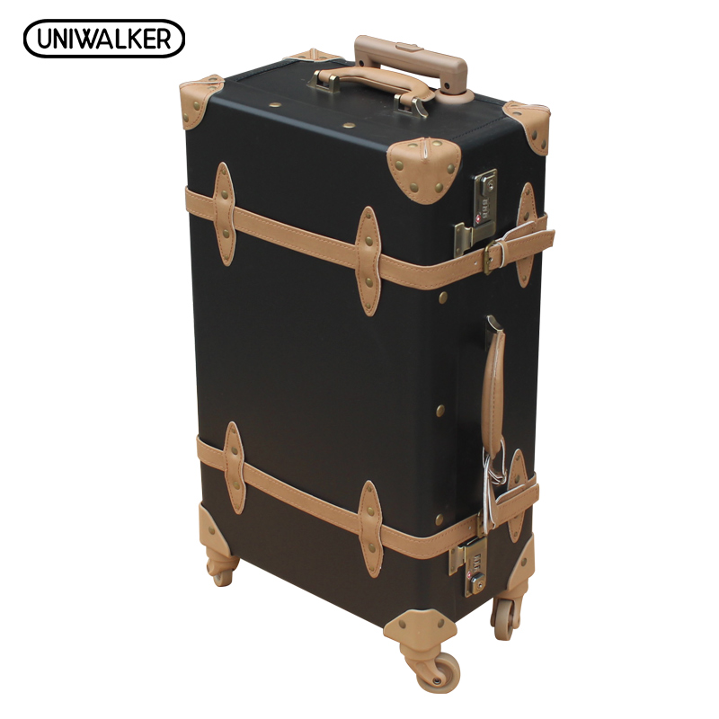 22 24 26 inches Vintage Luggage,TSA Lock Suitcase,Universal Wheels Trolley,PU Leather, Handle of Rod is External 2pcs set vintage pu leather travel luggage 12 20 22 24 26 retro trolley suitcase bags with spinner wheels with tsa lock
