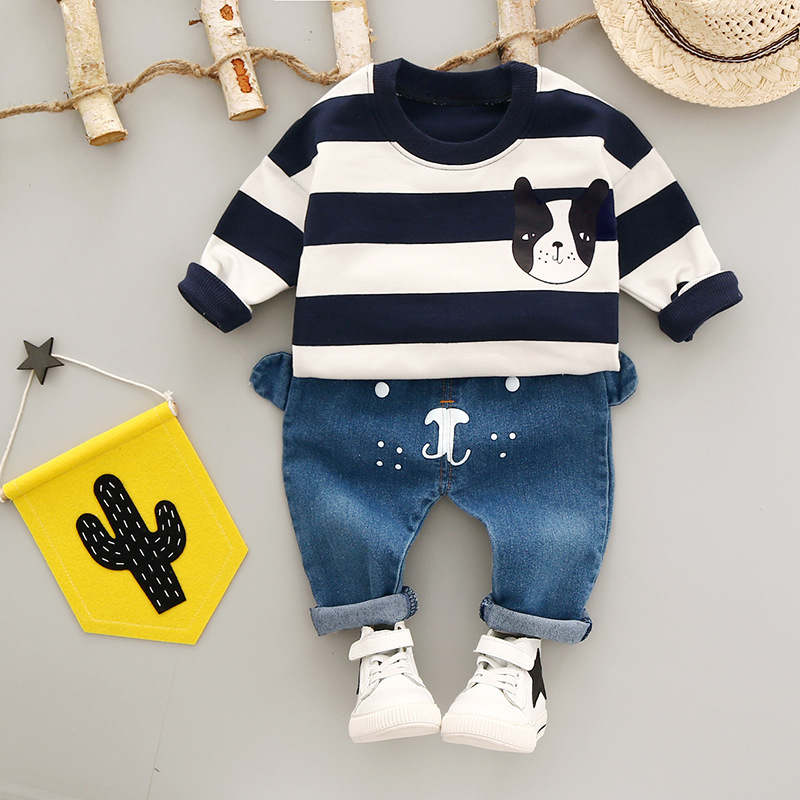 Autumn Baby Boys Kids Infants Bebe Cartoon Dog Striped Sweatshirt Pullovers Tops+Denim Jeans Long Pants 2pcs Clothing Set S5517 baby boys male infants kids long sleeve striped t shirt tops star bib overalls long pants 2pcs clothing set suit a58