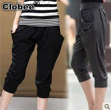 91357379f2 Pantalones Mujer Brand Capris High Waist Solid Pants Lady s Fitness Active  Casual Loose Harem Pants Spring