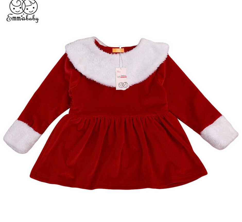 e6c73a8cf5536 Cute Xmas Dresses Winter Newborn Toddler Kids Baby Girls Dress Red Velvet  Long Sleeve Christmas Clothes Costume
