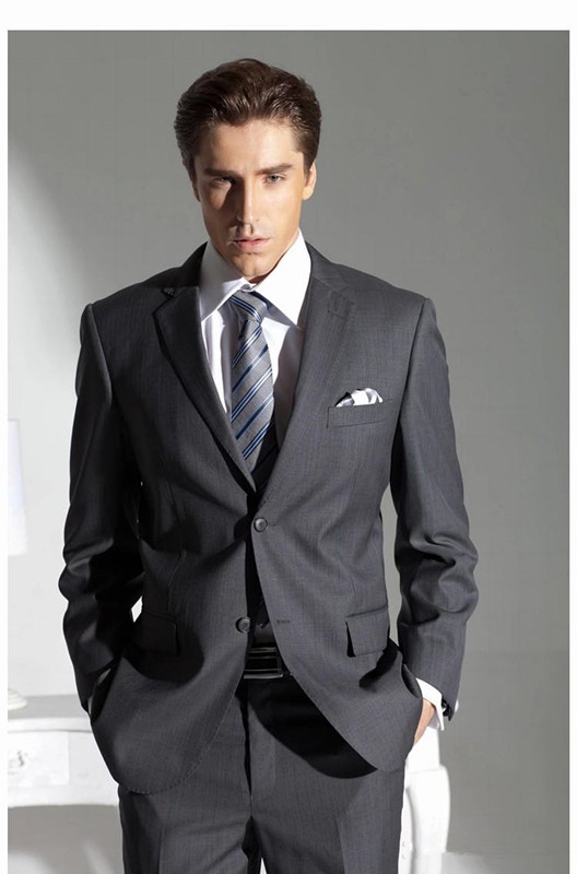 Fashion Design Dark Grey Groomsman Suit Business Suit Men Wedding ...