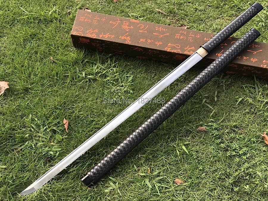 Leer Saya Japanse Samurai Rechte Zwaard Katana Volledige Tang Lente Staal Sharp Ninja Cosplay Real Vechten Mes Sabel