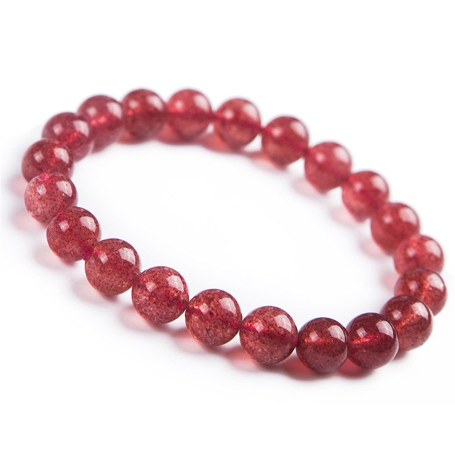 Natural Strawberry Quartz Crystal Clear Round Beads Women Charm Stretch Bracelet 8mm 8mm 9mm 10mm yellow faced marquise abacus natural quartz crystal beads bracelet for women stretch charm bracelet femme