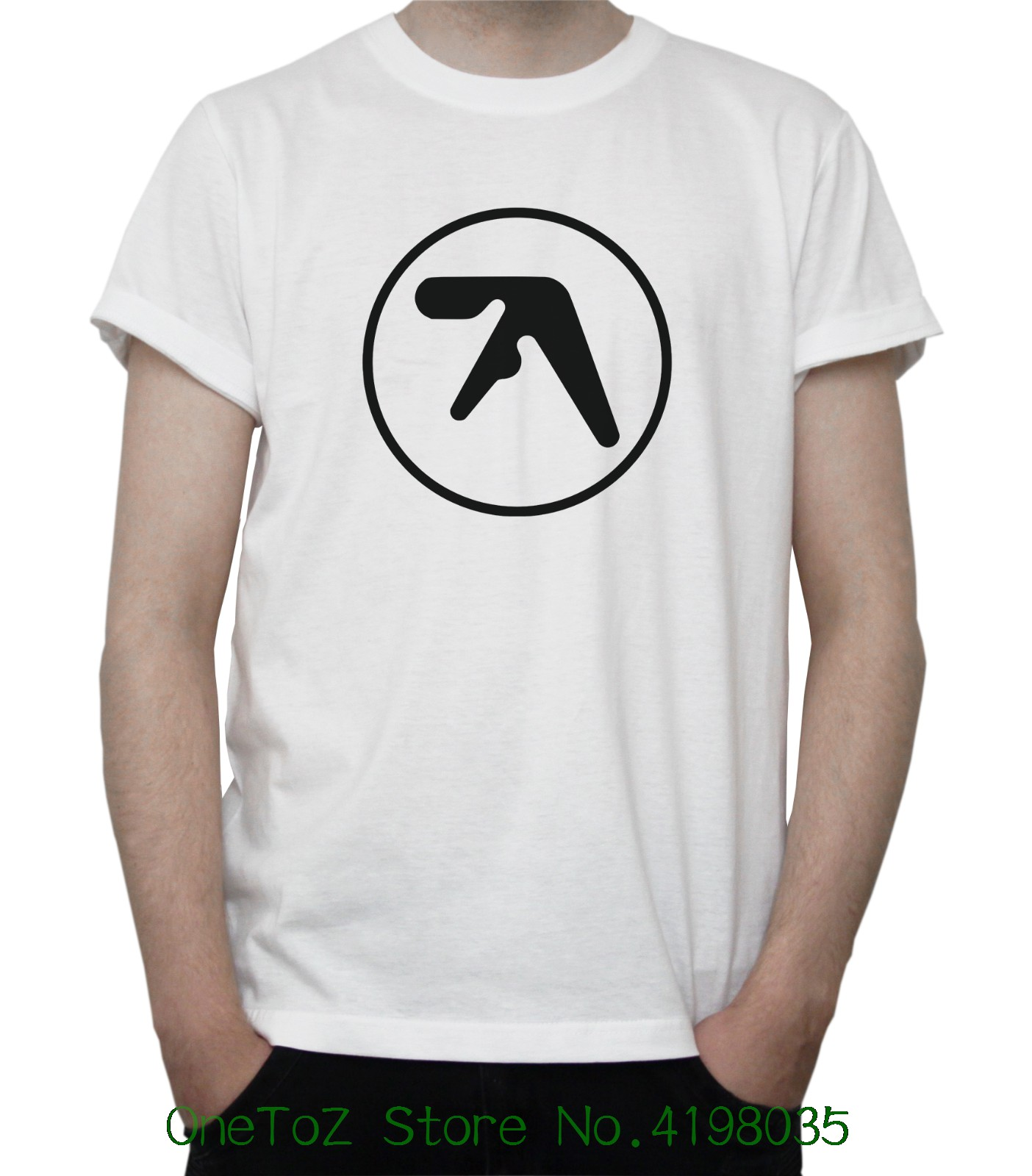 Aphex Twin Logo T-shirt Electronic Music Techno Hardcore Windowlicker Grey White Short Sleeve Cool Casual