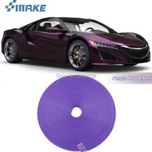 smRKE 8M Car Wheel Hub Rim Edge Protector Ring Tire Strip Guard Rubber Stickers On Cars Purple Styling