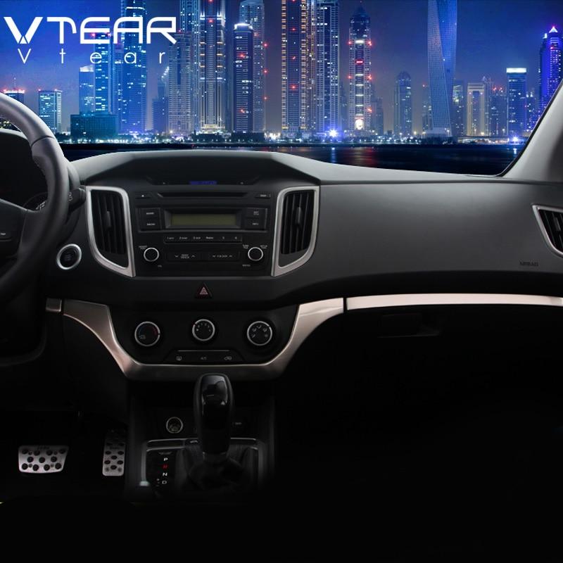 Vtear For Hyundai Creta ix25 accessories car dashboard Central control trim cover stainless steel Interior Mouldings 2016-2019 коврики в салонные ниши синие ix25 для hyundai creta 2016
