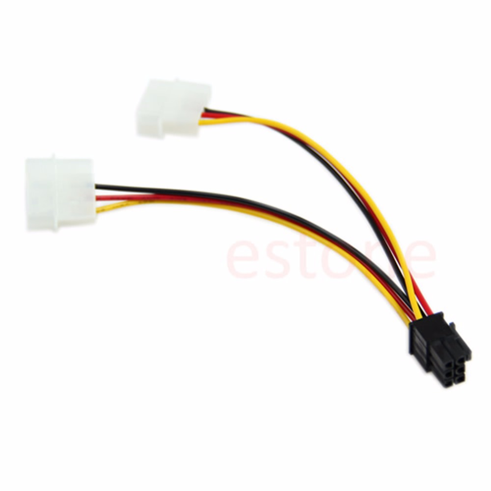 1PC 6 Pin PCI-E To 2 X 4 Pin Power Adapter Converter Cable Cord L15