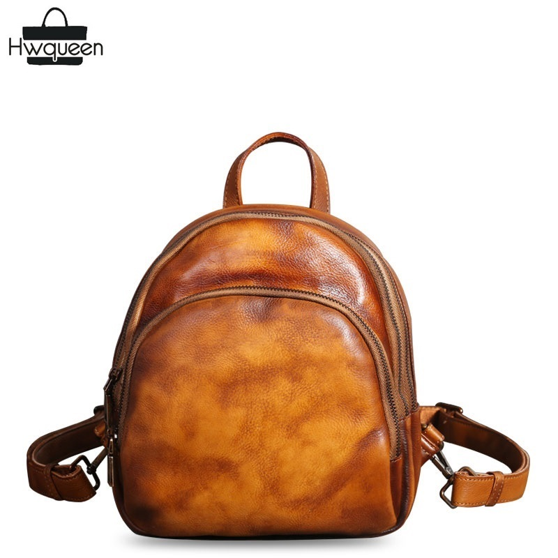 Vintage Designer Hand Painting Genuine Cow Leather Ladies Retro Brown Small Backpack Cowhide Female Girls Mini TRAVEL Back Pack kajie famous brand designer backpack for women 2018 retro genuine leather female back pack oil wax cow leather ladies travel bag