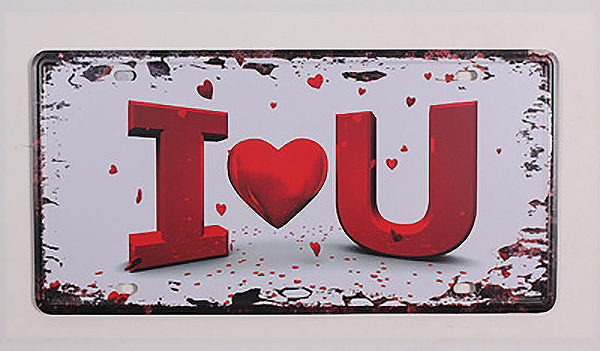 RONE0147 Vintage Metal tin signs letter signs about I LOVE YOU  License car Plates Wall art craft painting stikcer 15x30cm