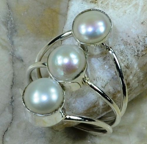 Hand make  Nature Pearl Ring 100% 925 Sterling Silver 5.9G, Size:7.25 , Gift BOX
