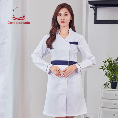 New white gown long sleeve short sleeve beauty salon pharmacy laboratory work clothes stand collar nurse without collar in Nurse Uniform from Novelty Special Use