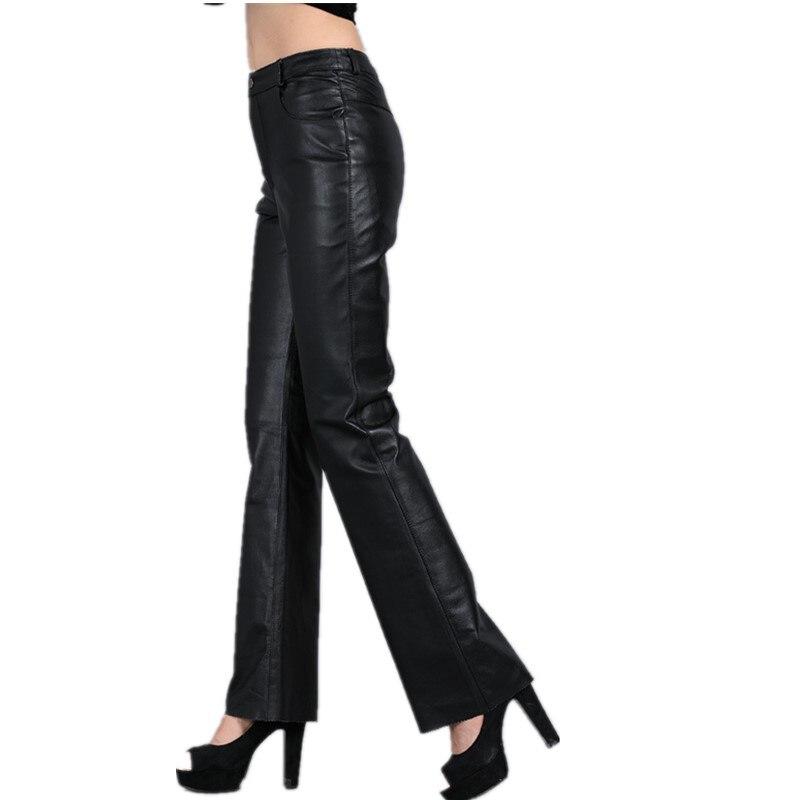 Dames Cloche-Bas en peau de Mouton Femmes En Cuir Véritable Pantalon Fermeture Éclair Mi Taille Mince Hip Casual Femmes Pantalon Femmes Pantalon Flare