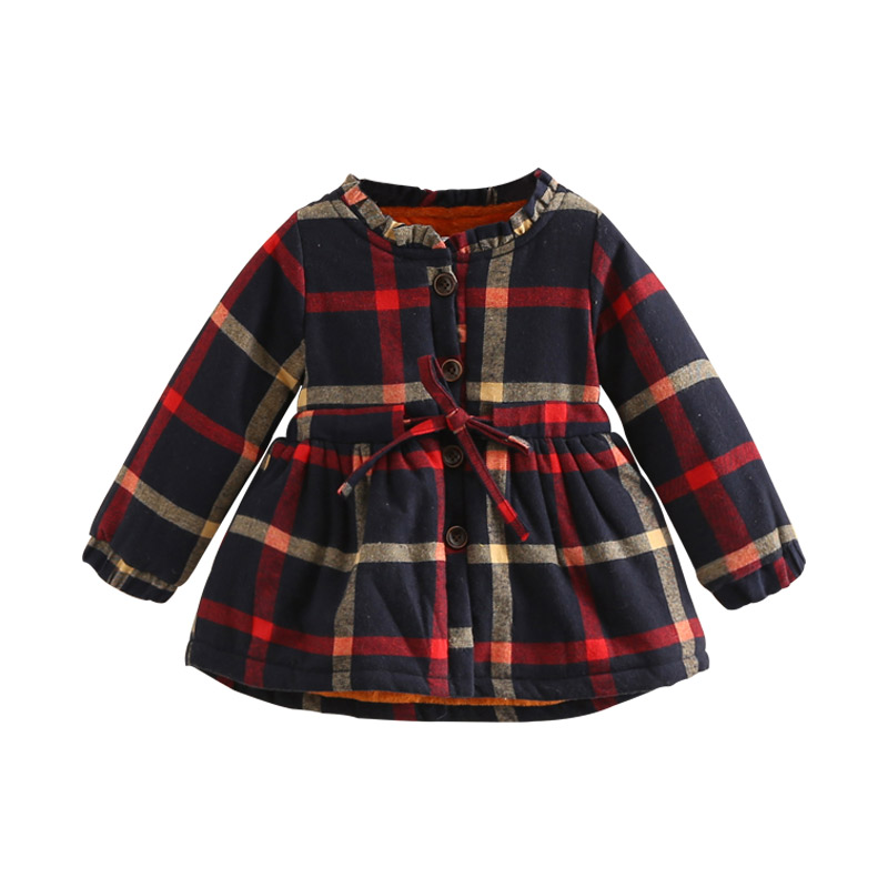 Kids Plaid Dresses 2018 Winter New Baby Girls Clothing Thick O-neck Long-Sleeve Girl Dress Children Thick Woolen Outerwear Dress children clothing new winter style knitted thick warm girl dress mesh patchwork o neck cute autumn baby kids girls dresses xl269