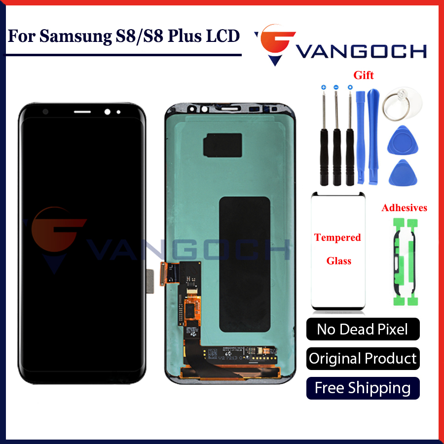 Original LCD Screen For Samsung Galaxy S8 Display G950 S8 Plus G955 Assembly Replacement With Adhesives