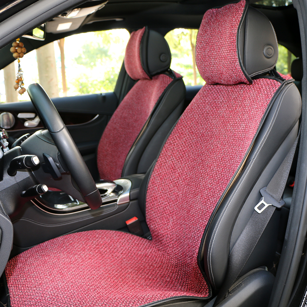 2 pcs Car Seat Cover Blue Cloak Linen/ Front or Back Seat Cushion Pad Fit Most Car, Truck, Suv, Protect Automotive Interior pillowcase classic style wave pattern car comfy back cushion cover
