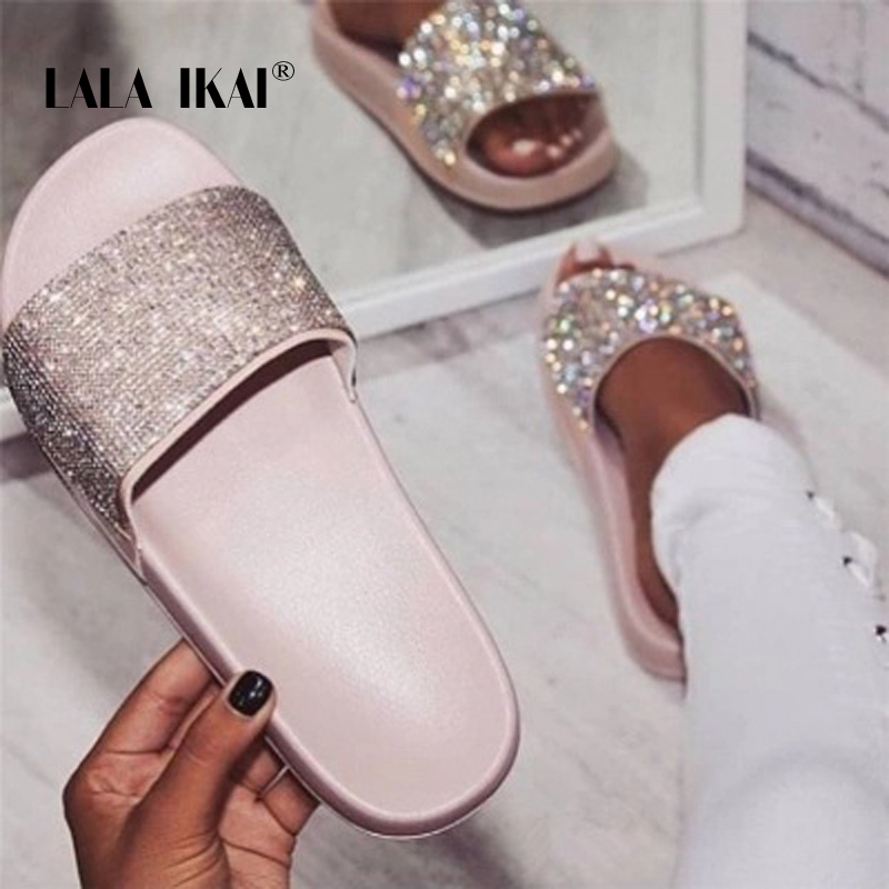c016883ae LALA IKAI Women Rhinestone Slippers Bling Summer Outdoor Crystal Beach  Ladies Slides Fashion Flat Shoes ...
