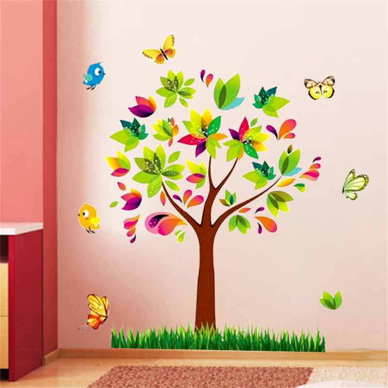 Tree Birds Vinyl Mural DIY Wall Sticker Home Decor Wall Decals For Kids Room Baby Nursery Room Decoration