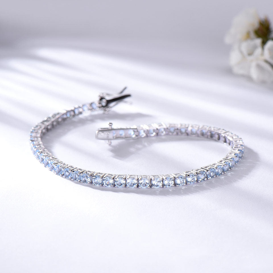 925 Sterling Silver  sky blue topaz bracelet for women (3)
