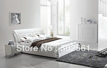 contemporary King size Queen modern genuine leather soft bed China bedroom furniture white