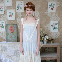 LYNETTE'S CHINOISERIE Summer Original Design Women High Quality Embroidered patchwork suspenders french romance chiffon dress