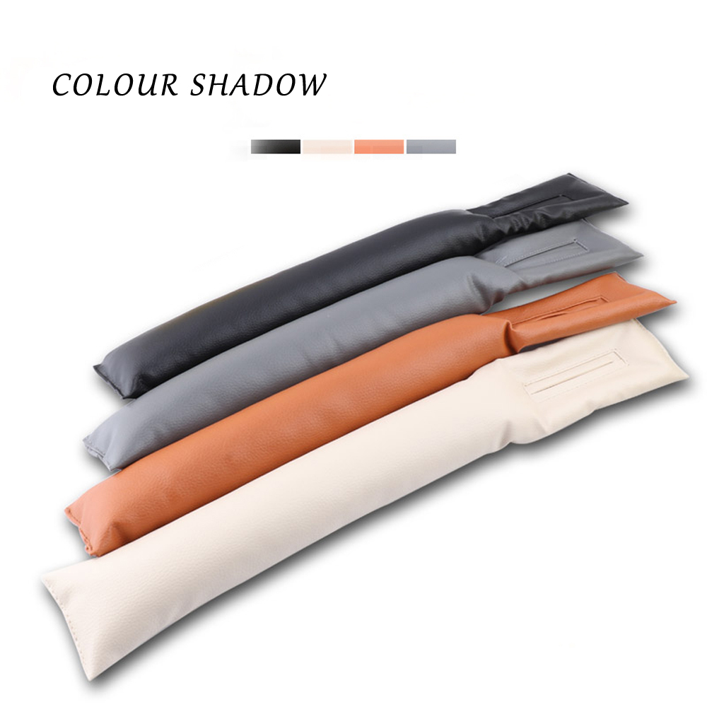 Colour Shadow 1 piece Black Beige Brown Car Seat Cushion Crevice Gap Stopper PU Leather Leakproof Protector car seat cover pad