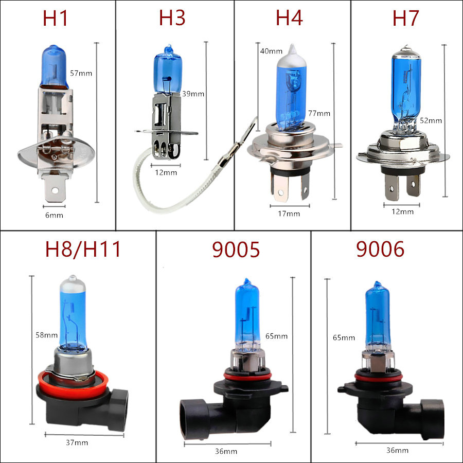 55W 12V 100W H1 H3 H4 H7 H8 H9 H11 9005 Hb3 9006 HB4 Car Headlight Bulbs Halogen 100W 5000K White Auto HeadLamp Halogen