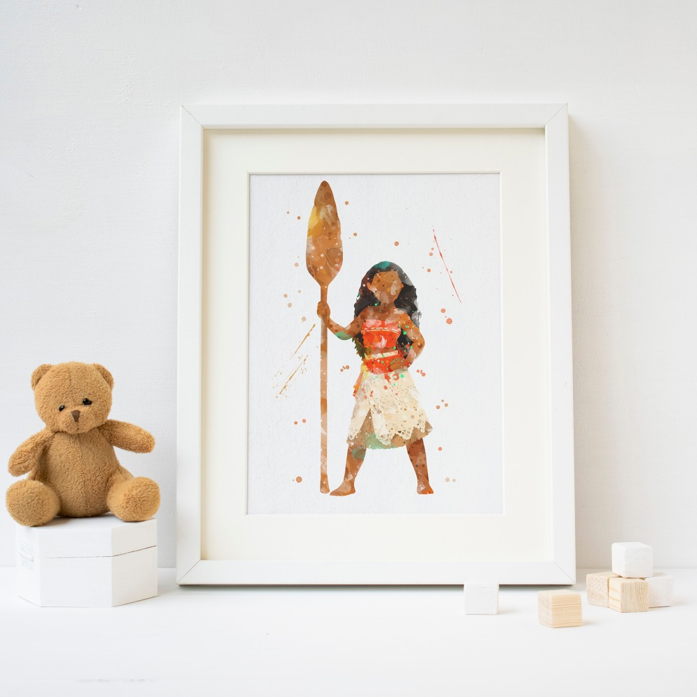 Moana Watercolor Baby Poster Nursery Print Disney Wall Art Home Decor UNFRAMED