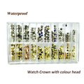 Waterproof Watch Crown Parts Replacement with Coloured Dome Head Watch Accessories Repair Tool Kit for Watchmaker