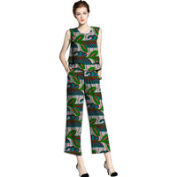 Personal Tailor African Print Women Sleeveless Tops Ankle Length Pants Sets Fashion Pattern Ladies Dashiki African