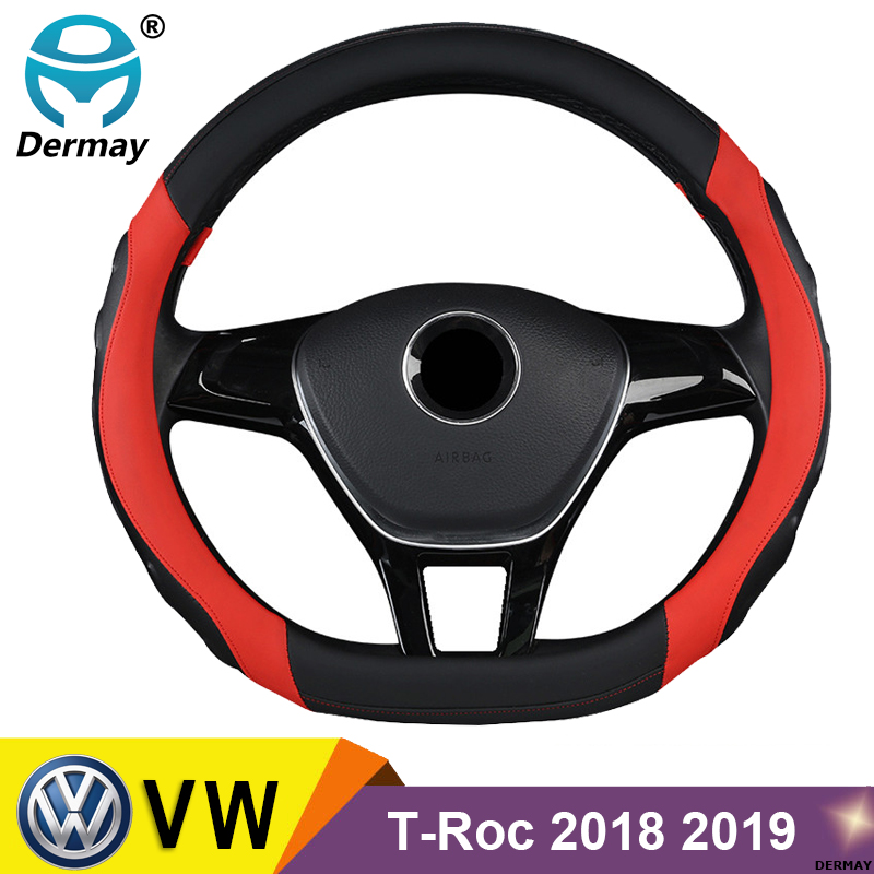 DERMAY Steering Wheel Cover Micro Fiber Leather 4Colors <font><b>D</b></font> Shape for VW T-Roc 2018 <font><b>2019</b></font> R-Line <font><b>2019</b></font> Non-slip High Quality image