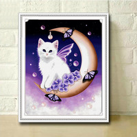5d Diy Diamond Painting Animal The Cat On The Moon Cross Stitch Round Rhinestone Diamond Mosaic
