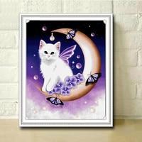 5d Diy Diamond Painting Animal The Cat On The Moon Cross Stitch Round Rhinestone Diamond Mosaic
