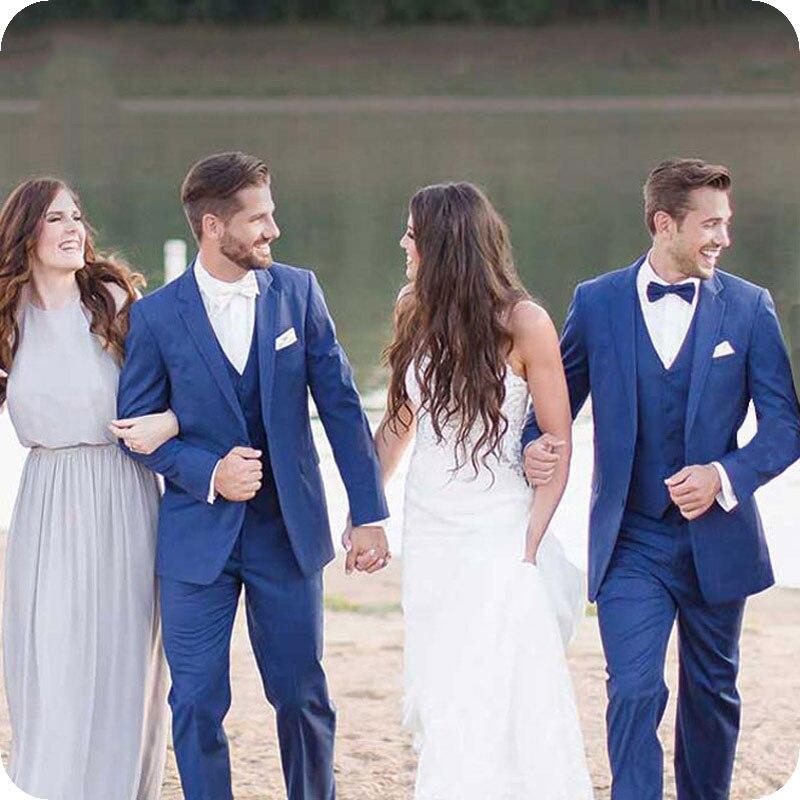 2019 Royal Blue Men Classic Suits For Wedding Bridegroom Slim Fit Groom Tuxedo Blazers Best Man Jacket Pants Vest Costume Homme