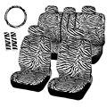 Curto de luxo Da Listra Da Zebra de Pelúcia Tampas de Assento Universal Caber A Maioria Dos Carros assentos Almofada de Ombro Tampa Da Roda de Direcção 12 pcs Set-Branco
