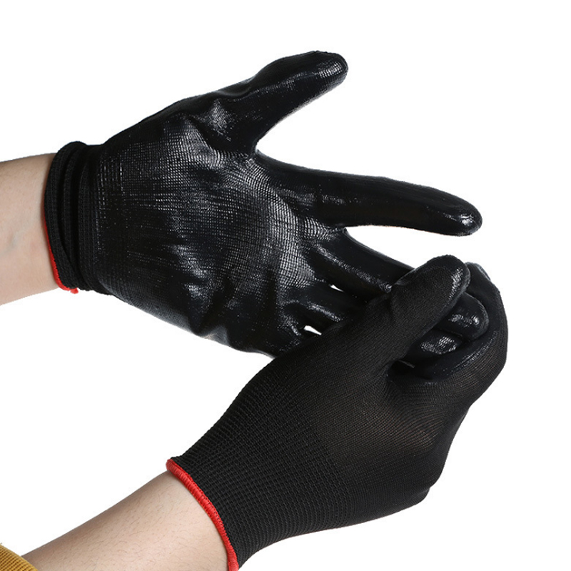New Sale Black Safety Coating Builders Work Gloves Palm Protect Convenient Oil-proof  Knit Cuffs Butyronitrile Vinyl Glove