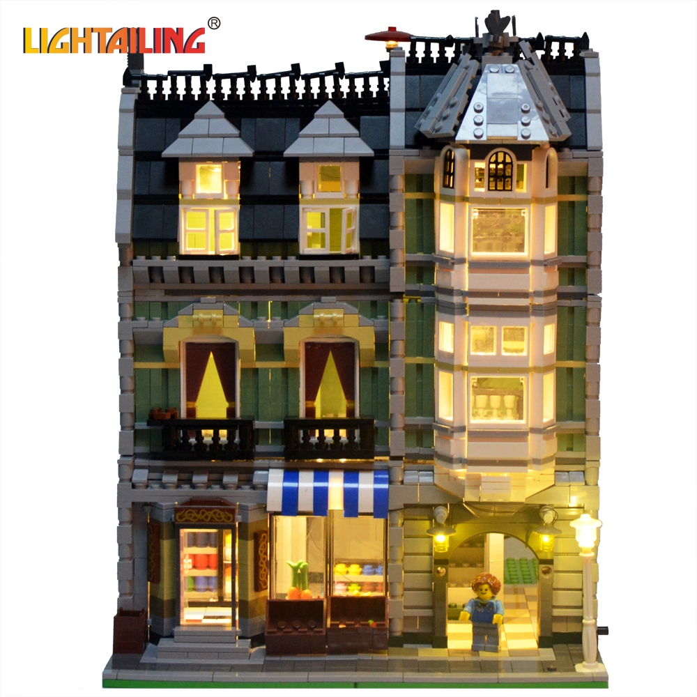 LIGHTAILING LED Light Up Kit For Creator Series Green Grocer Building Block Model Light Set Compatible With 10185 And 15008 led light up kit gor city model building block figures accessories kit toys for children compatible with lepin
