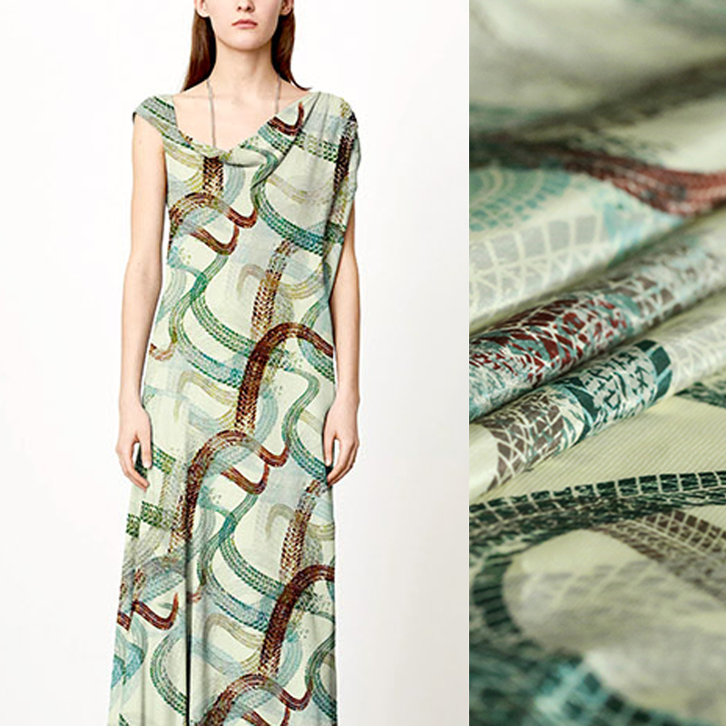 140CM 16MM Green Abstract Lines Print Silk Crepe De Chine Fabric for Summer Dress Blouse Skirt Shirt Pants Scarf E1007