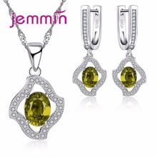 Jemmin 925 Sterling Silver Crystal Necklace Earrings Sets For Valentine's Day Gift Woman Bridal Jewelry Set For Wedding Bijoux