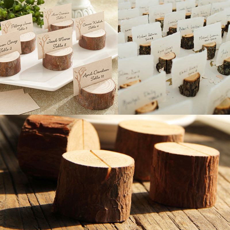 Us 10 0 9 Off 3cm Rustic Wedding Wooden Place Card Holder Wood Stump Escort Card Holder Photo Holders In Party Diy Decorations From Home Garden