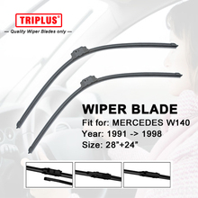 Upgrade Wiper Blade for Mercedes Benz W140 (1991-1998) 1 set 28″+24″,Flat Aero Windscreen Wiper Frameless Windshield Soft Blades