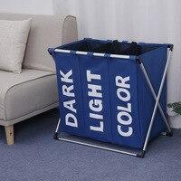 Laundry Basket Storage 3 Compartments Folding Storage Organizer Basket Toy Dirty Clothes Sundries Washing Storage Basket